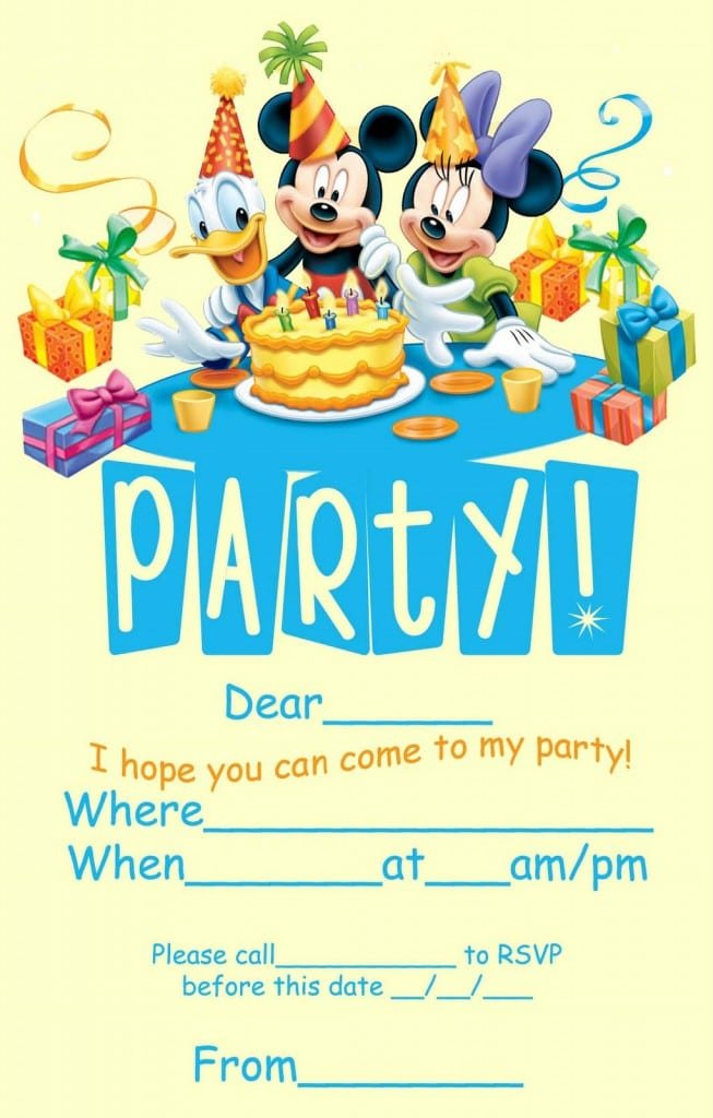 Free Mickey Mouse Invitation 4