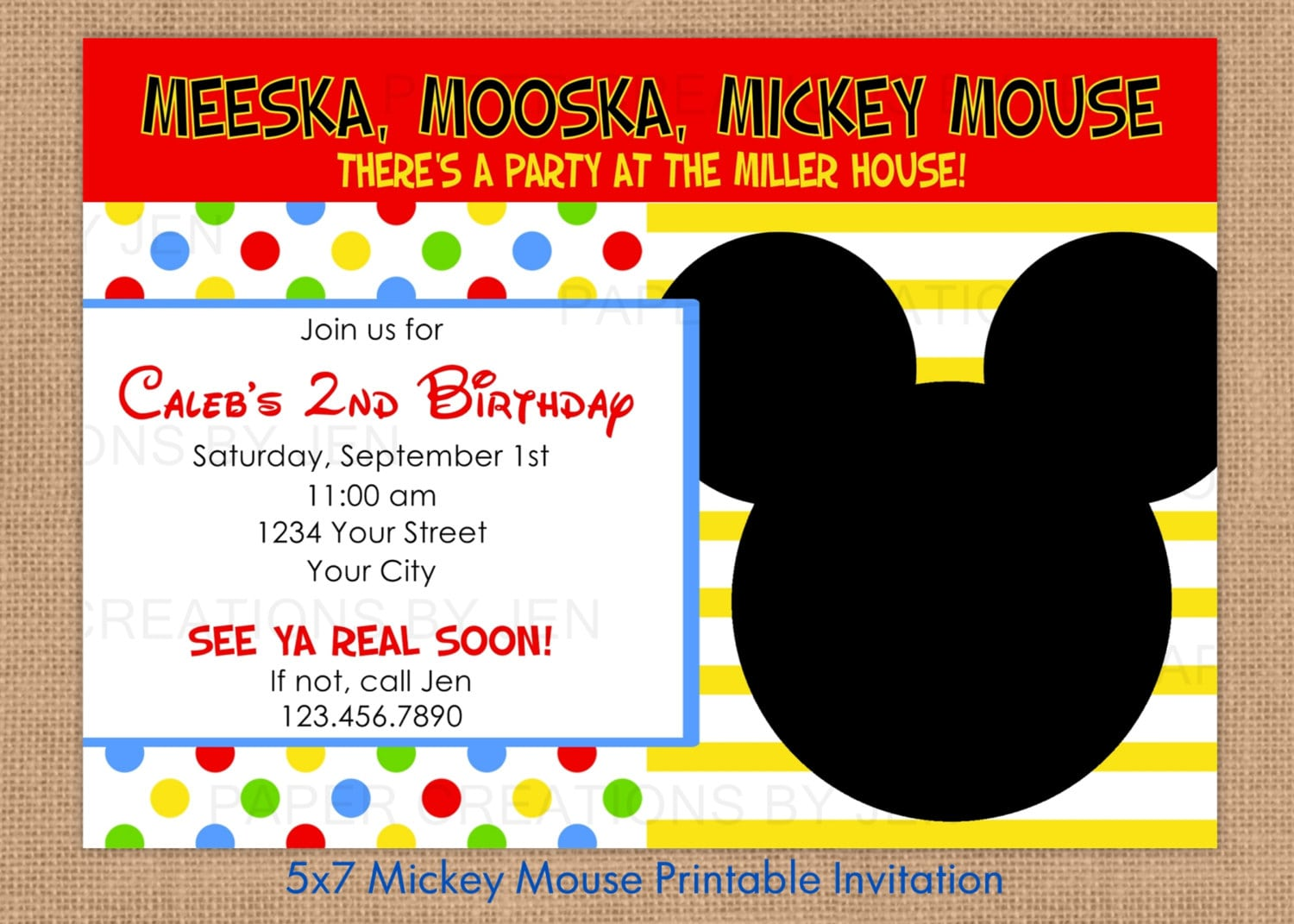 Free Mickey Mouse Invitations Print
