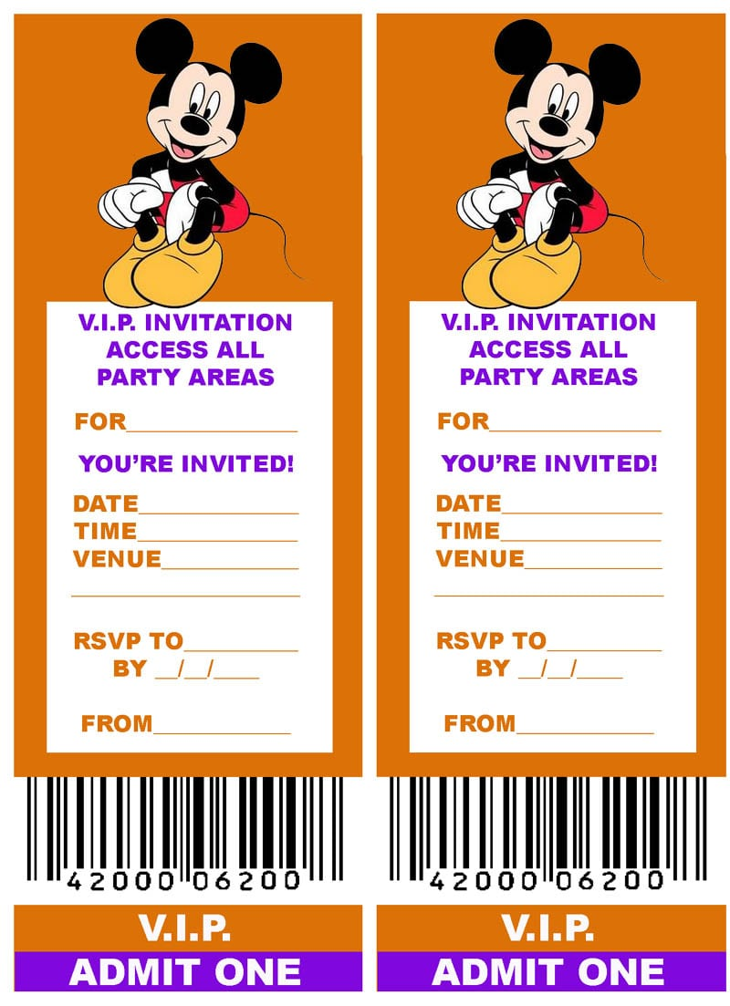 Free Mickey Mouse Party Invitations Printable