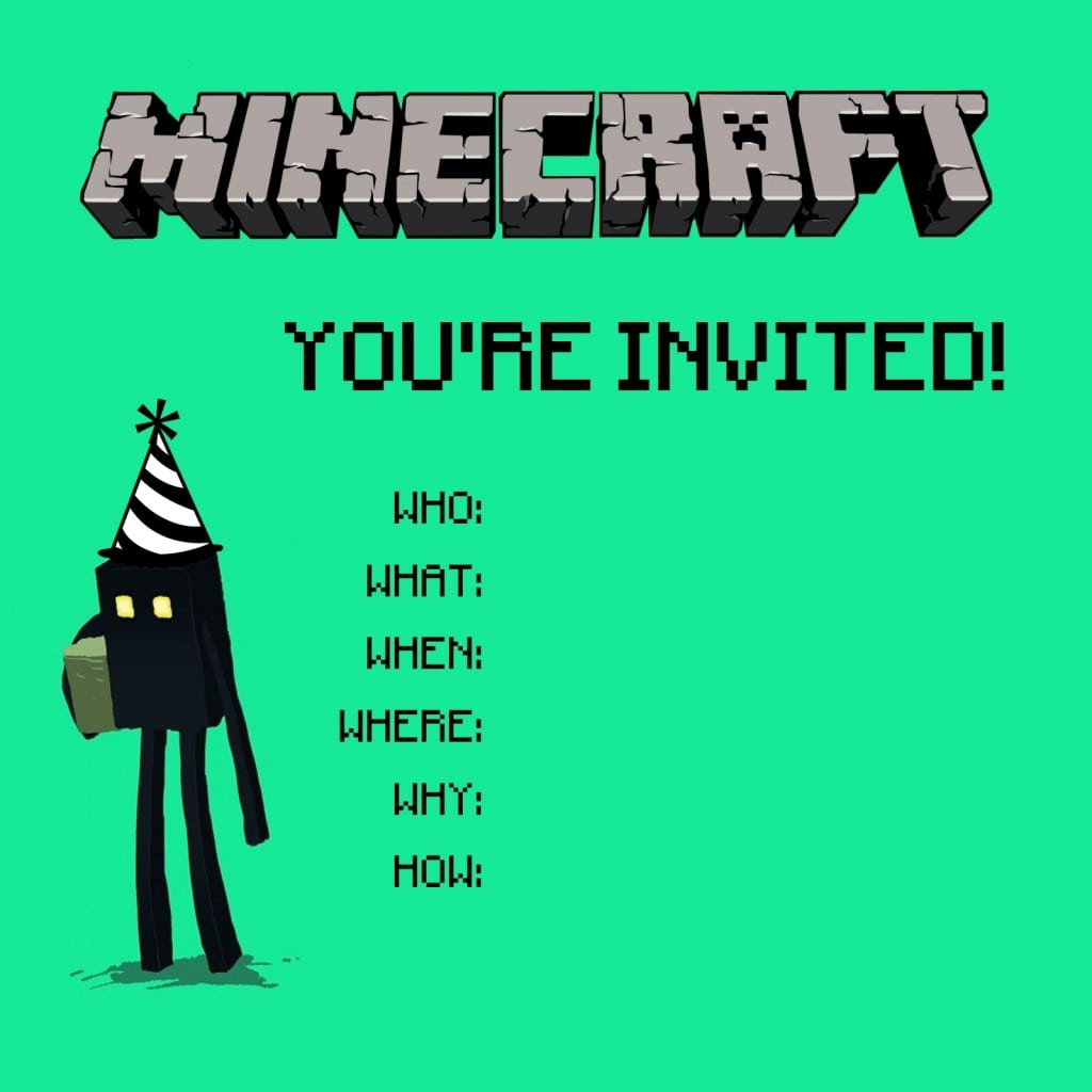 Free Minecraft Birthday Party Invitation Template