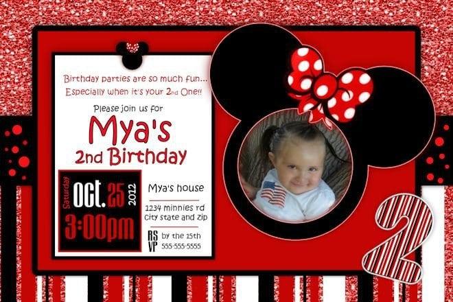 Free Minnie Mouse Birthday Invitation Template 5
