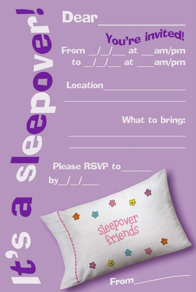 Free Online Printable Slumber Party Invitations