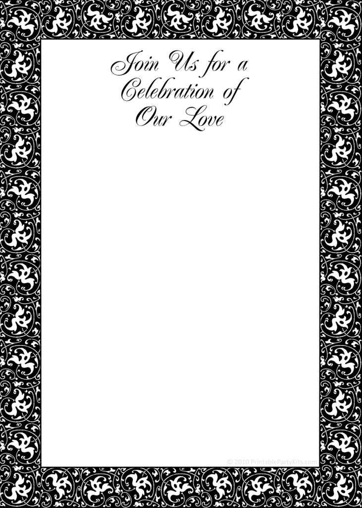 free party invitation templates printable black and white