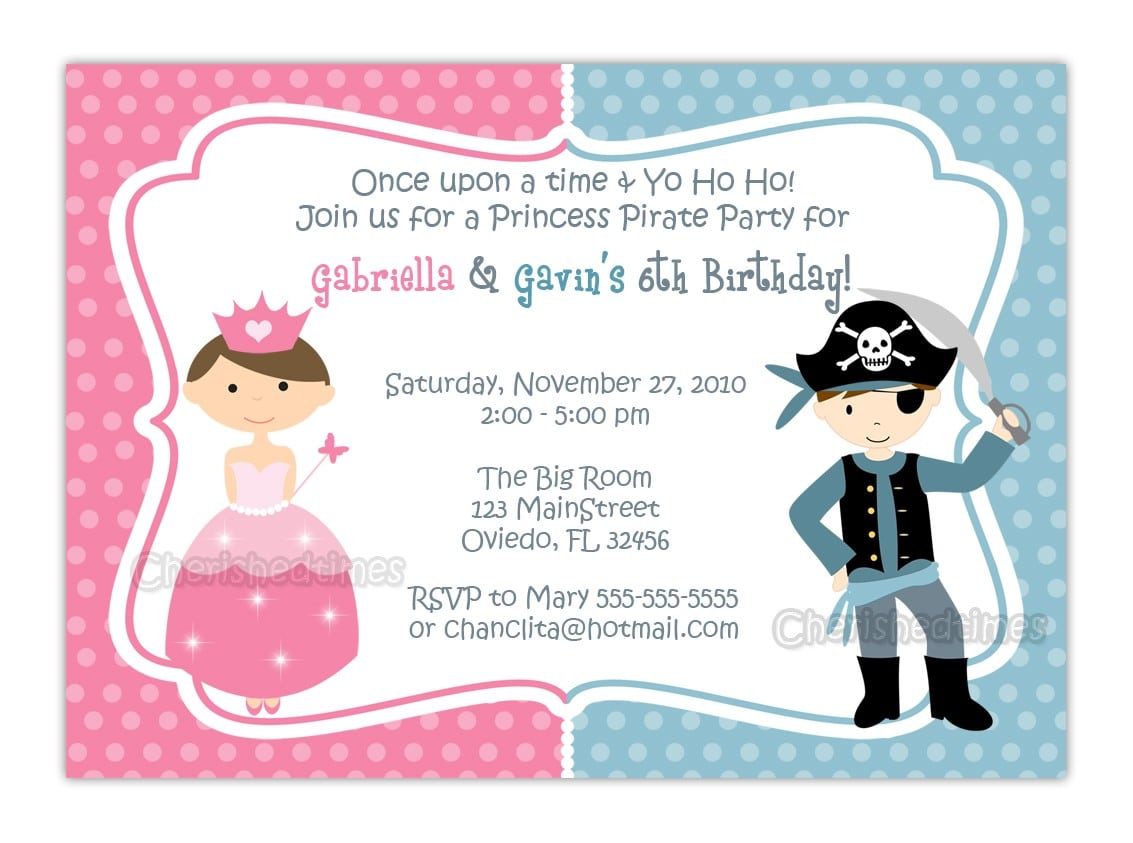 Free Pirate And Princess Party Invitations Printable
