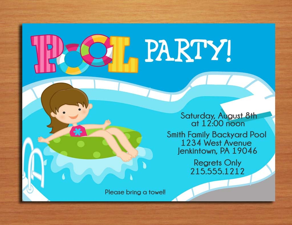 Free Printable Pool Party Invitations | Best Business Template
