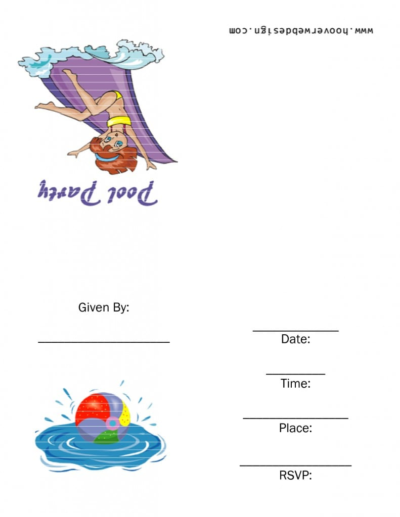 Free Pool Party Invitations Printable 2