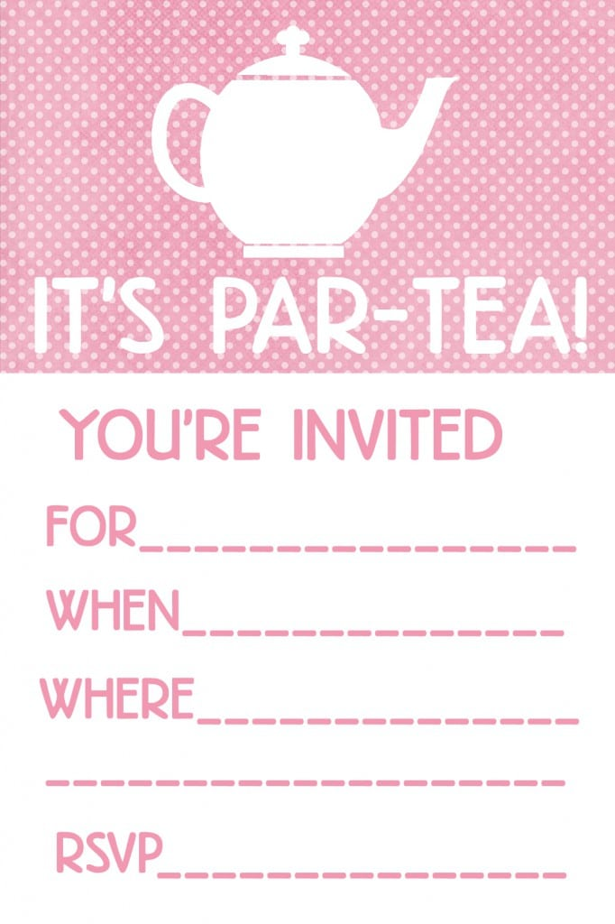 free princess tea party invitations printable