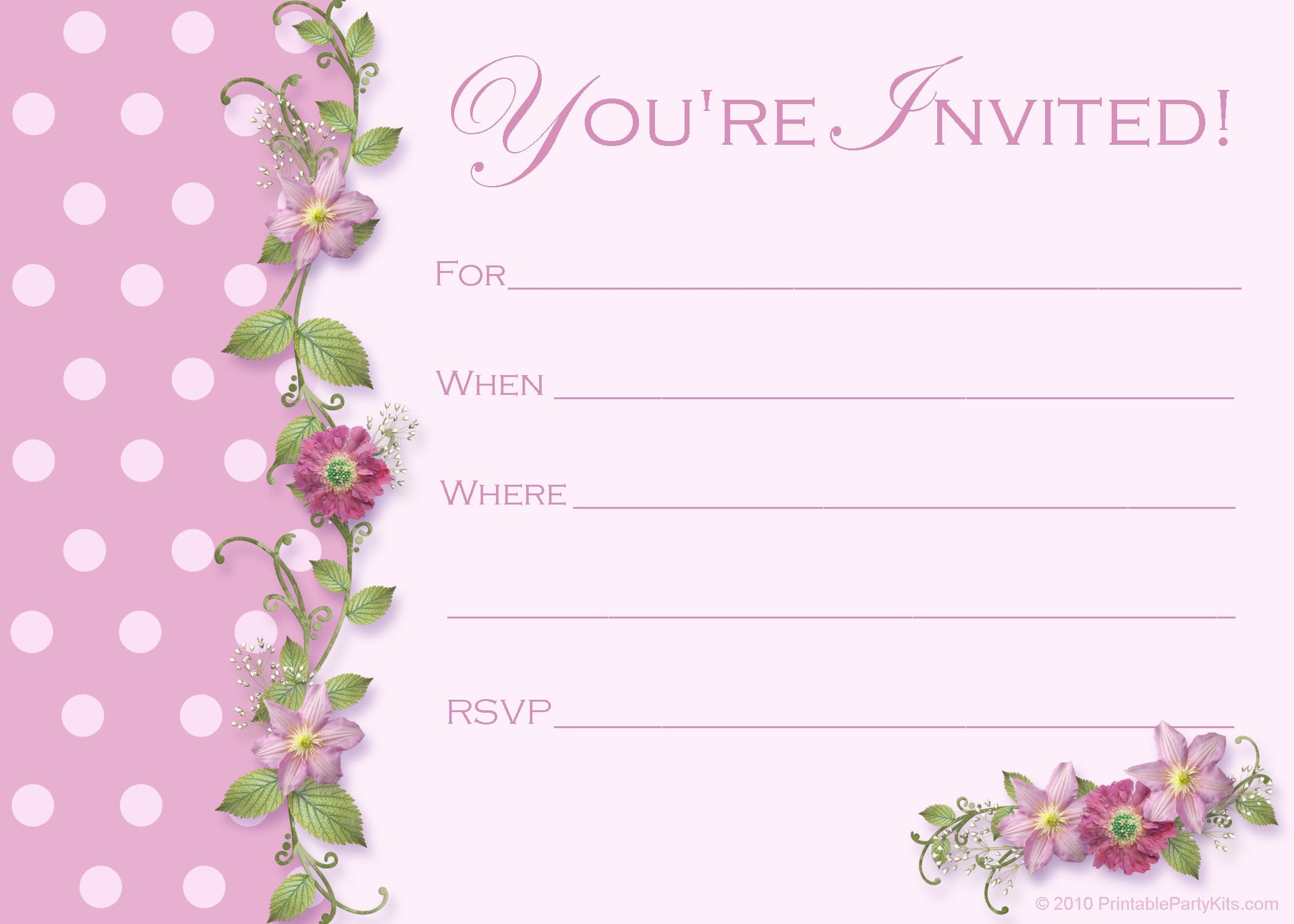 birthday party invitation templates printable