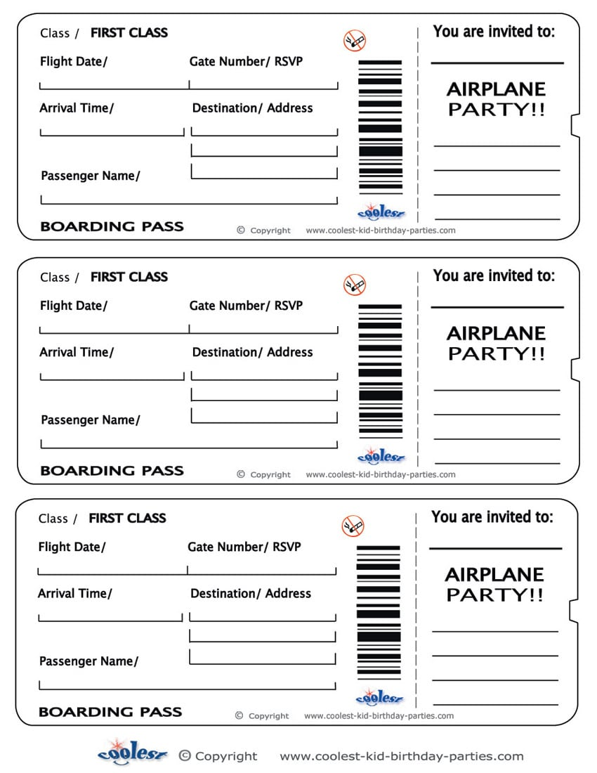 Free Printable Airline Ticket Invitation