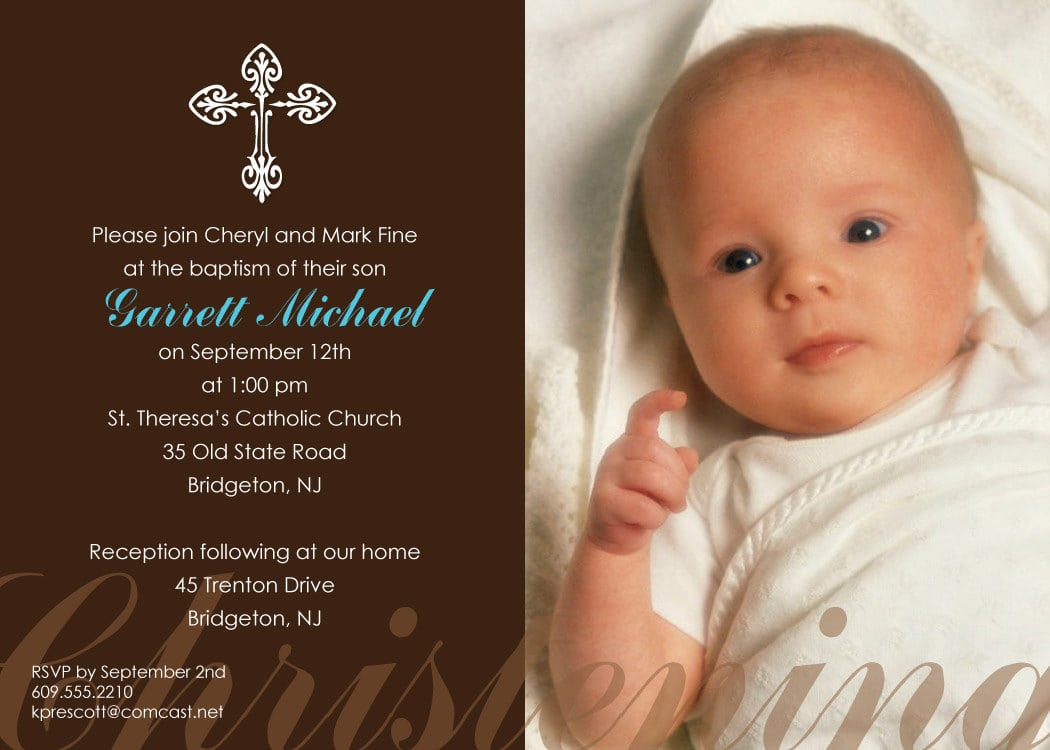 Free Printable Baby Boy Baptism Invitations
