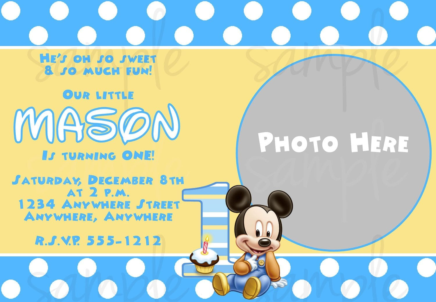 Free Printable Baby Mickey Mouse Invitations - Mickey mouse 1st birthday invitations template