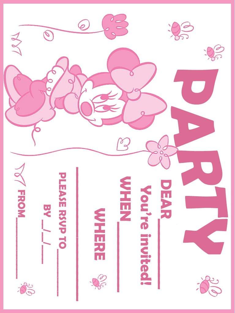 Free Printable Baby Minnie Mouse Birthday Invitations