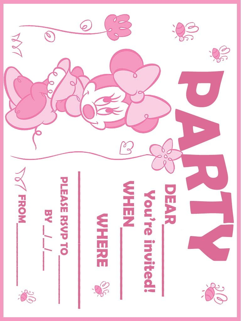 ... Photos - Printable Minnie Mouse Birthday Invitations Free Download Get