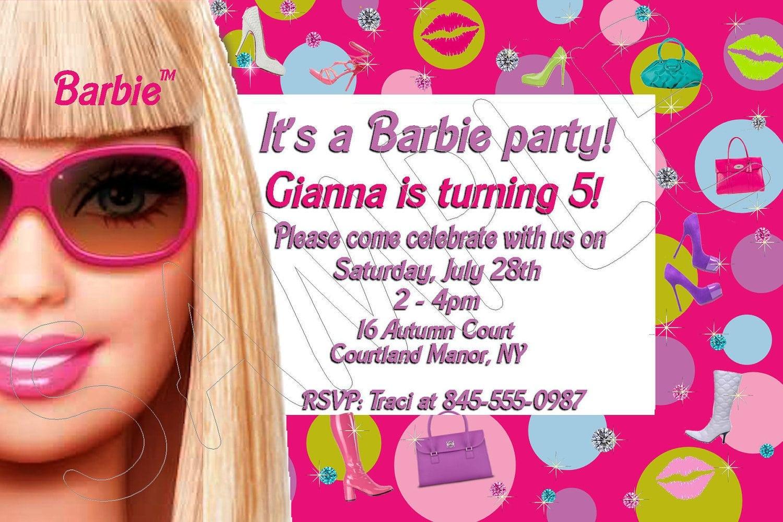Free Printable Barbie Birthday Invitations