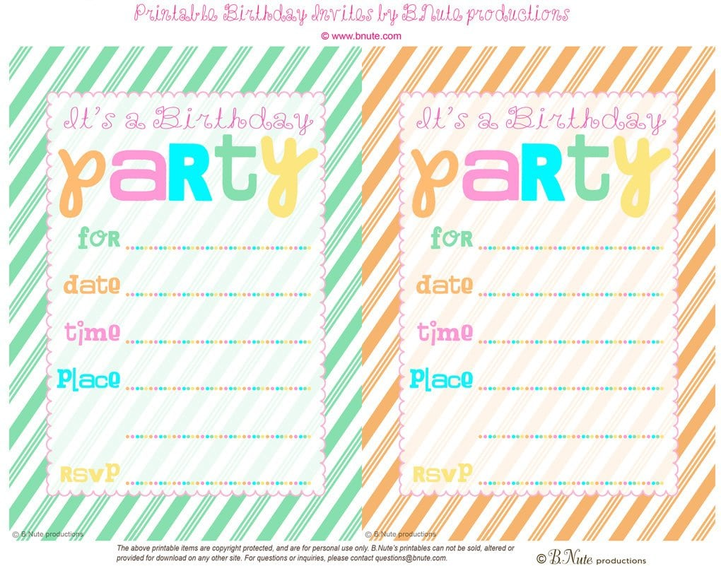 Free Printable Birthday Invitations For A 13 Year Old
