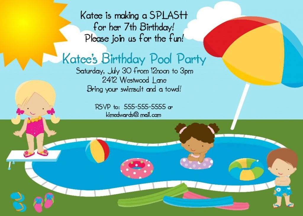 Free Printable Birthday Invitations For Pool Party