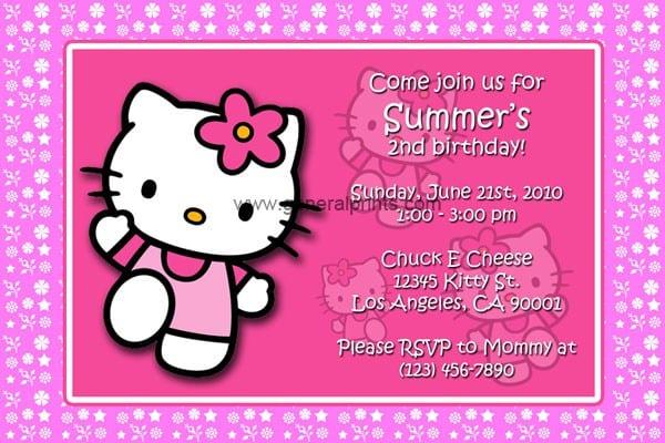 Free Printable Birthday Party Invitations Hello Kitty 2