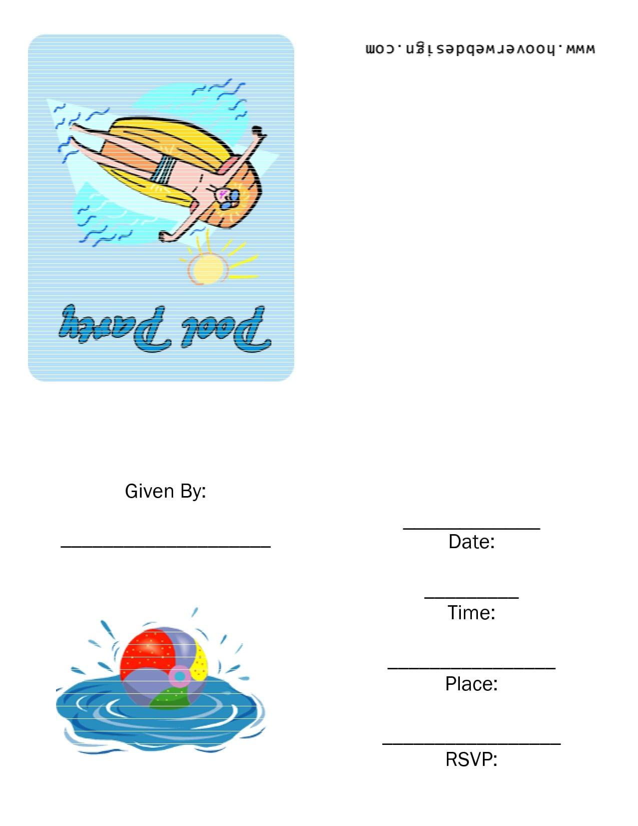 Free Printable Birthday Pool Party Invitations 4