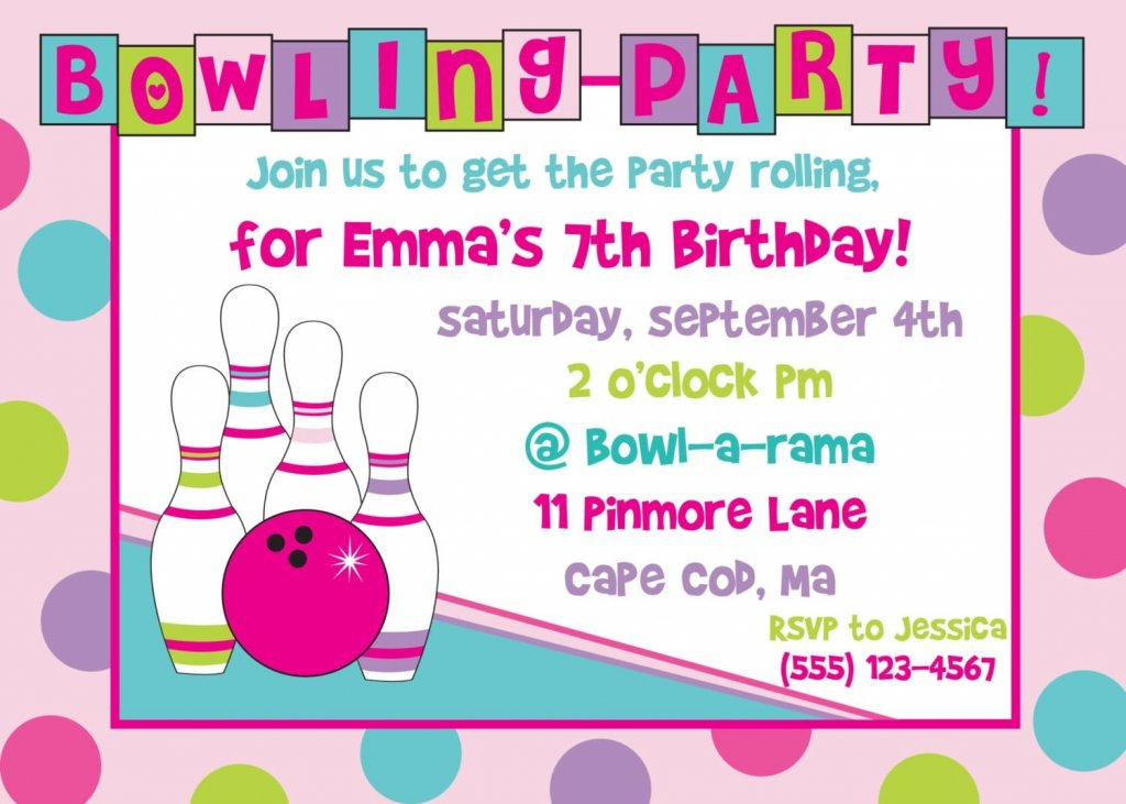 Free Blank Printable Invitation Templates – Free Bowling Birthday Party Invitations