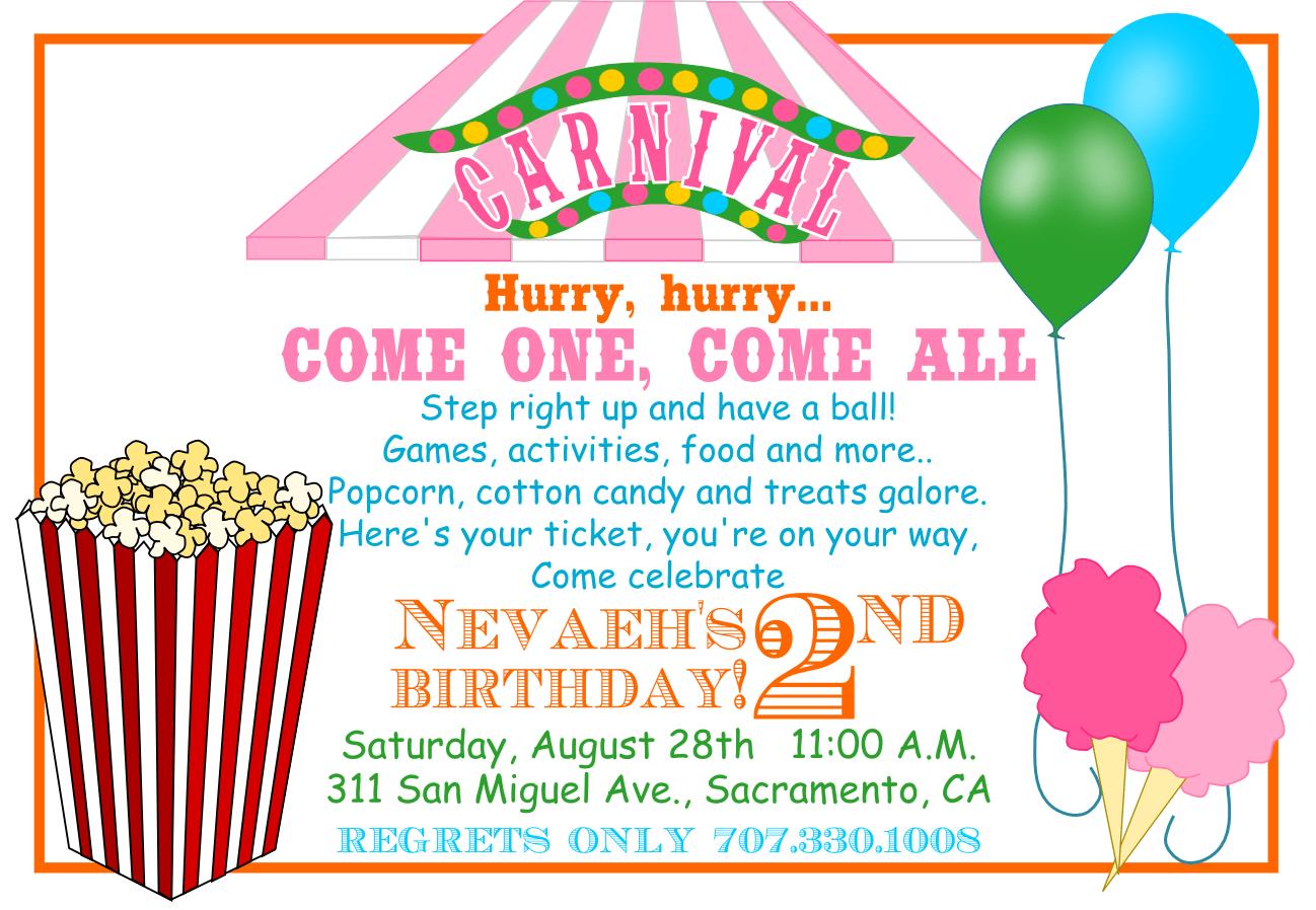 Free Printable Carnival Birthday Invitations