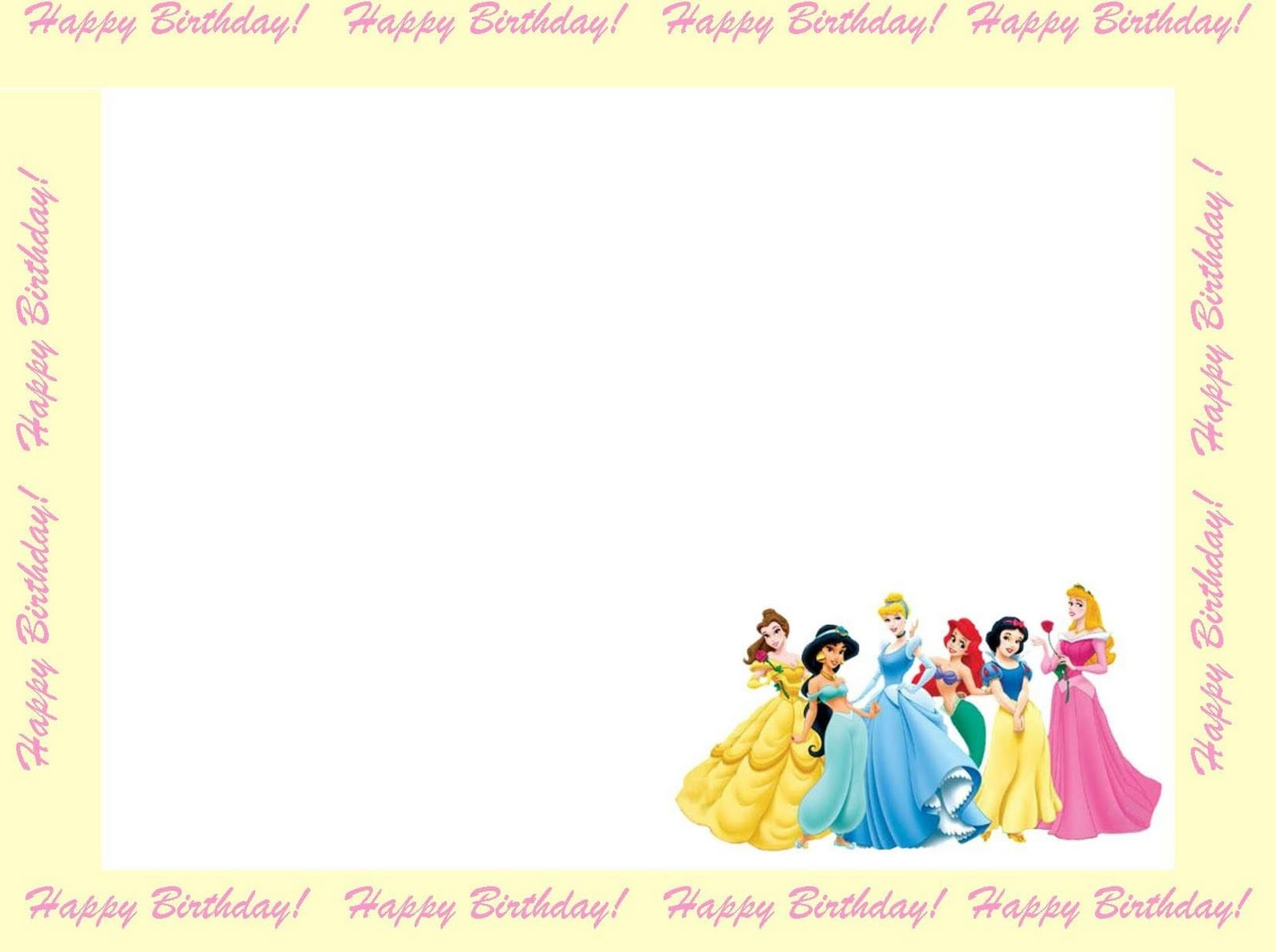 Free Printable Disney Princess Invitation Cards