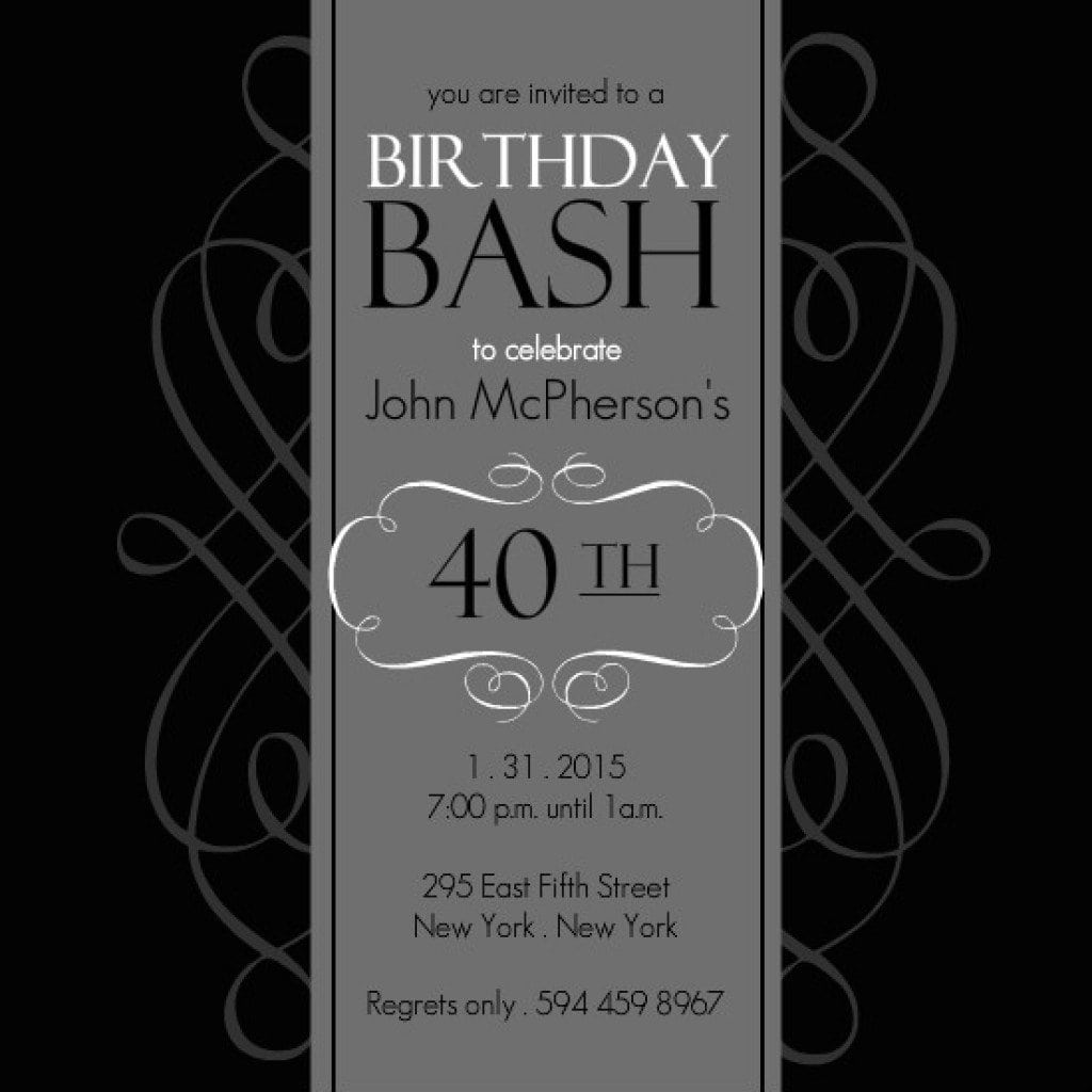 Free Printable For 40 Th Birthday Invitation Templates 5