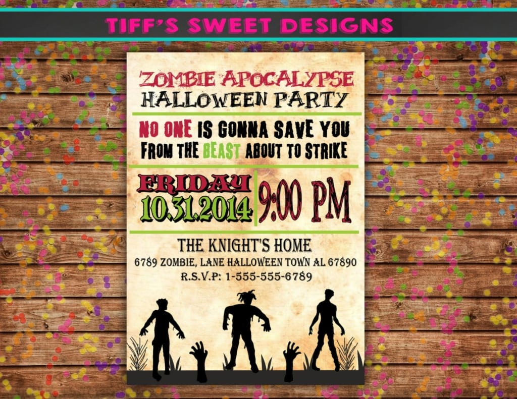 Free Printable Halloween Zombie Party Invitations