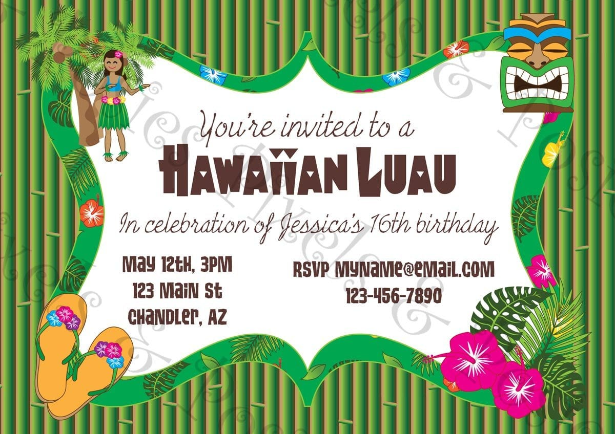 It's just a photo of Free Printable Luau Invitations throughout blue hawaii