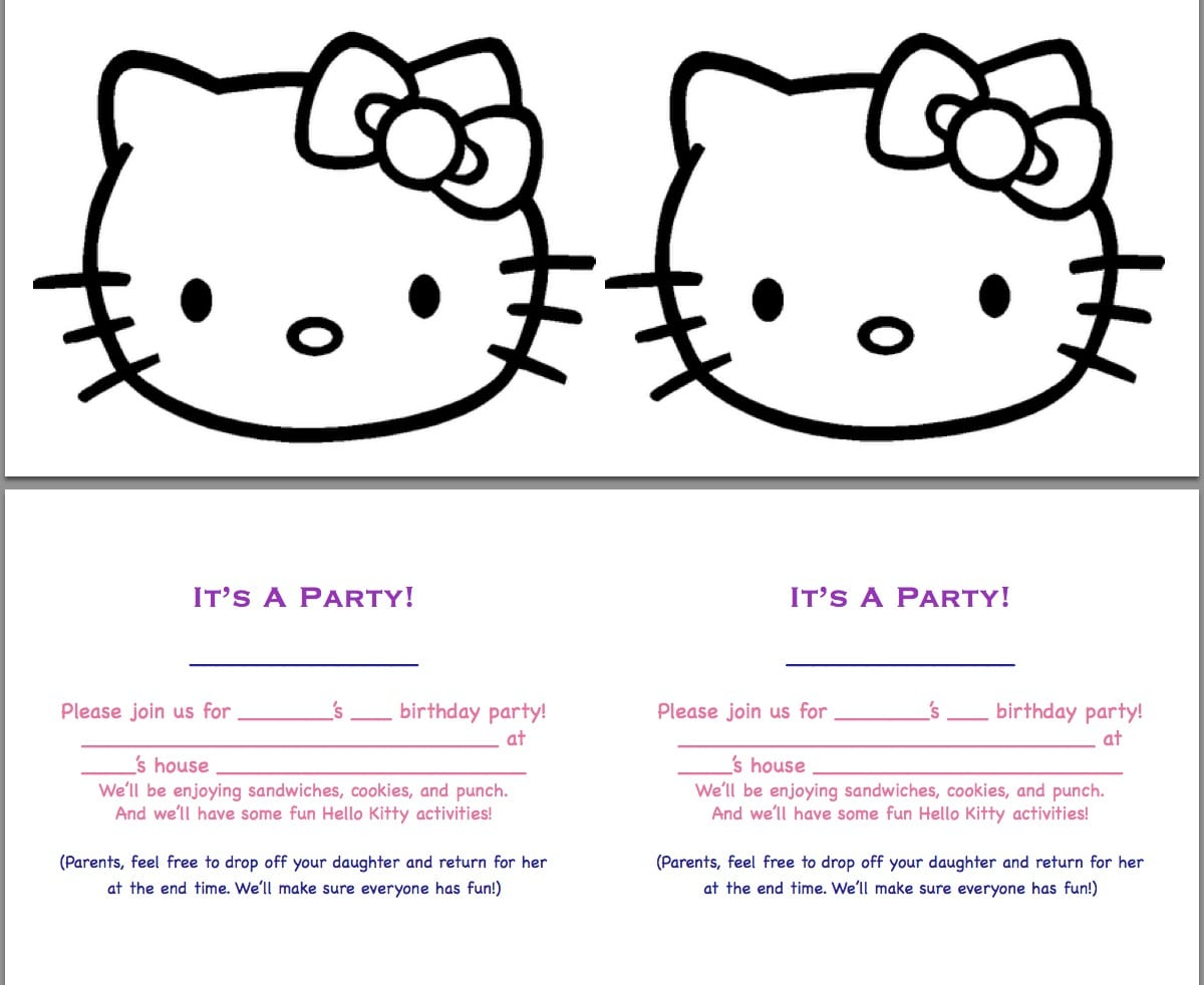 Free Printable Hello Kitty Birthday Invites