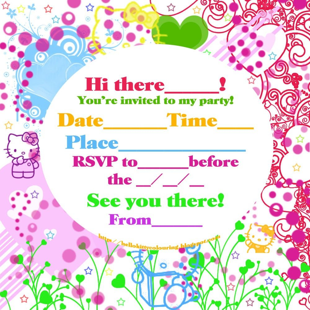 printable hello kitty invitations personalized Yenimescaleco