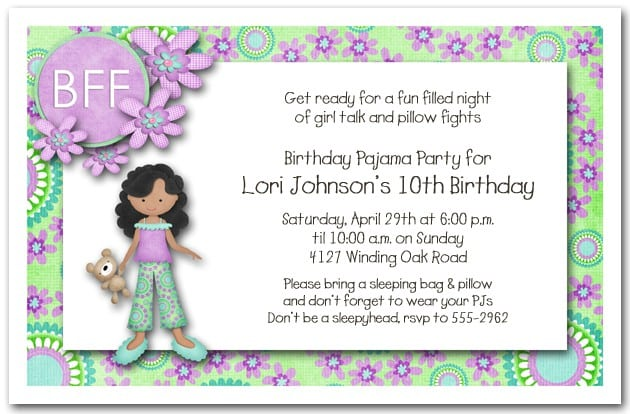 Free Printable Invitations For Girls Slumber Party 3