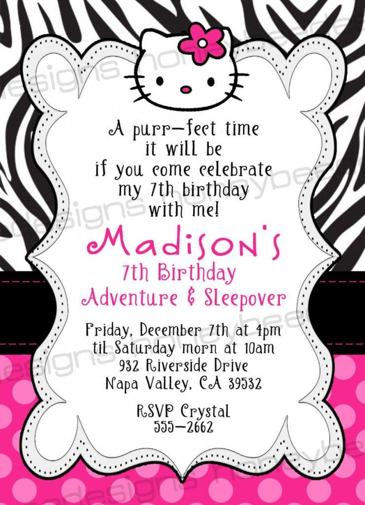 Free Printable Invitations Hello Kitty Zebra 4