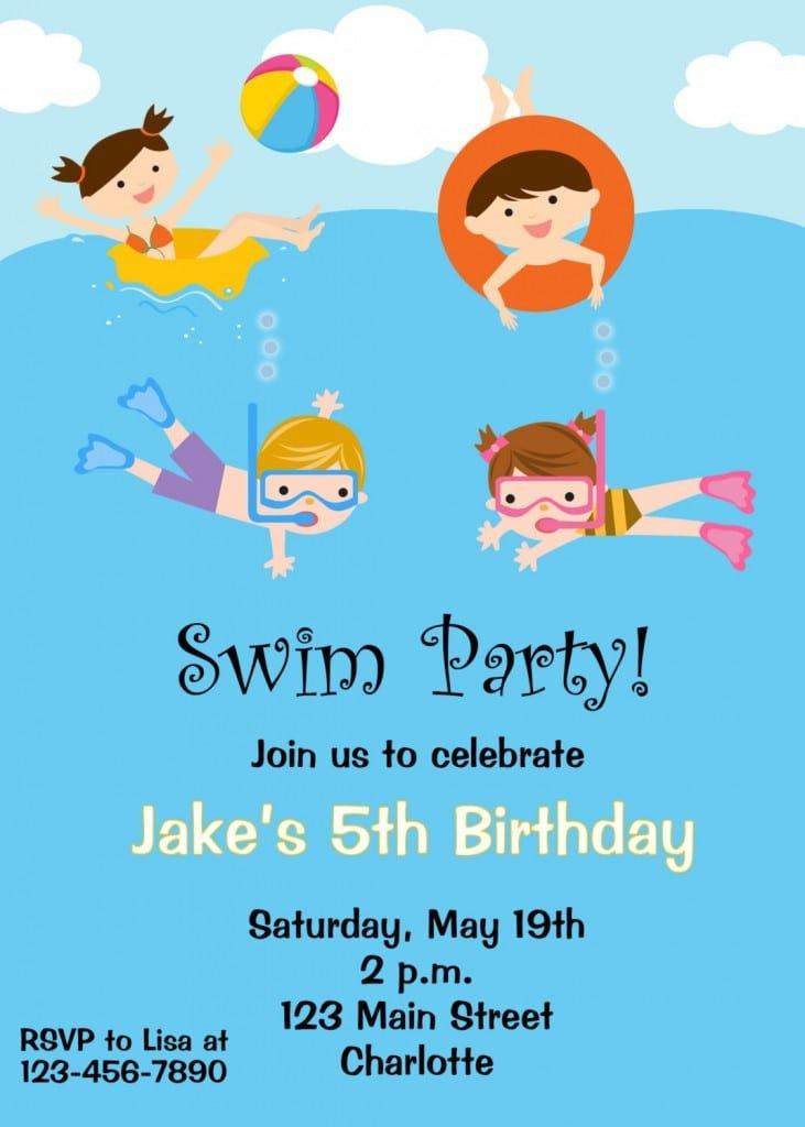 Free Printable Kids Pool Party Invitations Templates 3