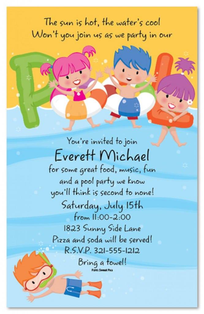 Free Printable Kids Pool Party Invitations Templates 4