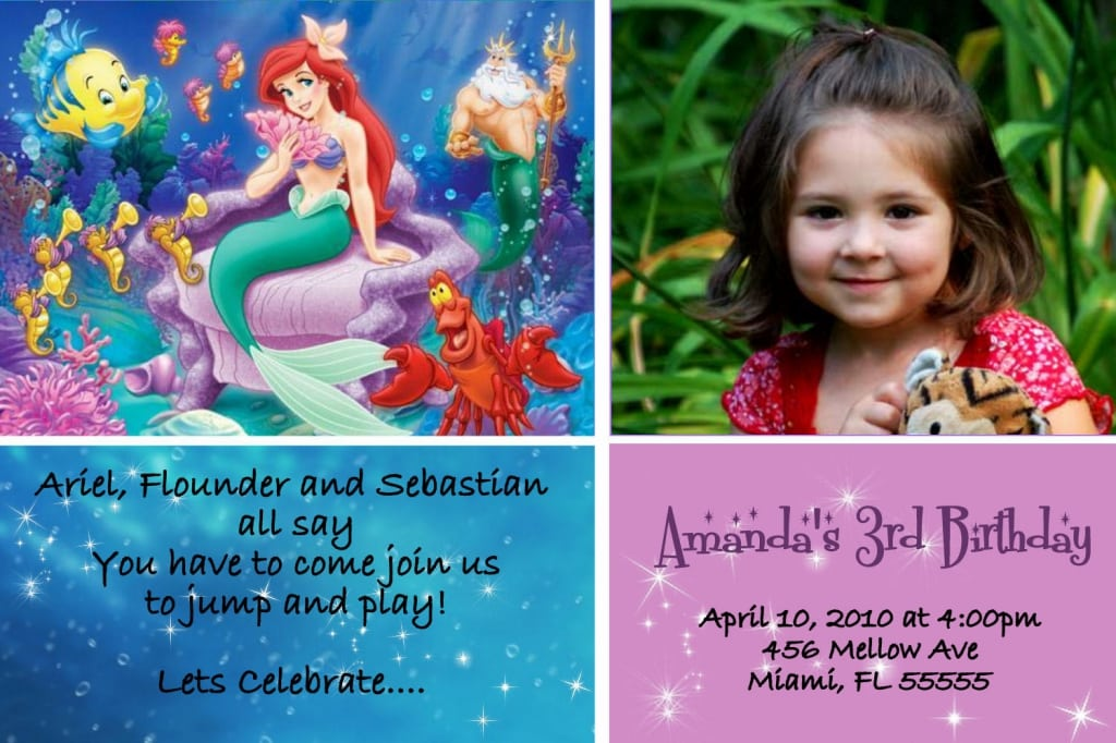 Free Printable Little Mermaid Birthday Invitations