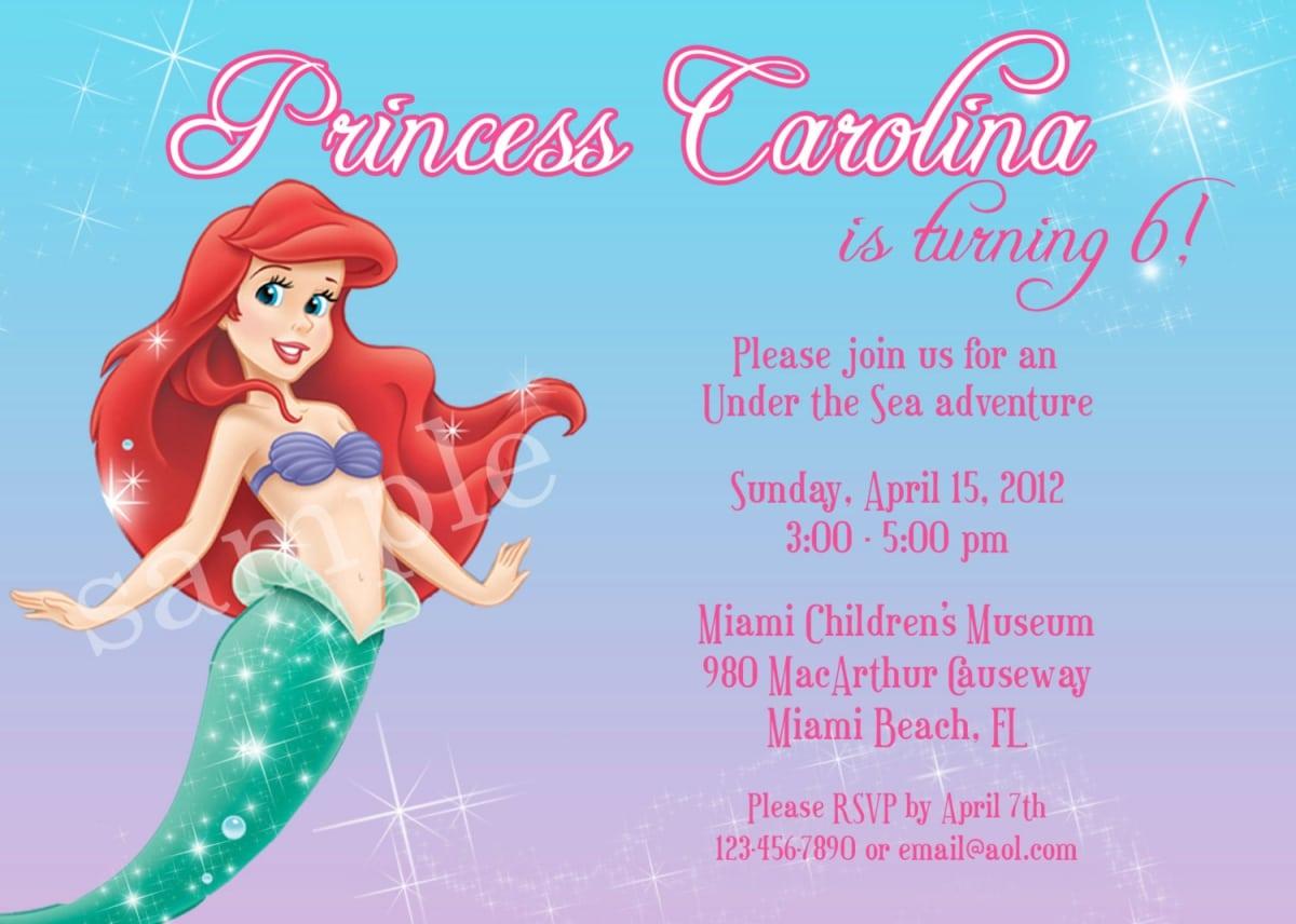 Free Printable Little Mermaid Party Invitations