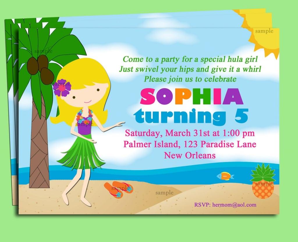 Free Printable Luau Bday Invitations Template