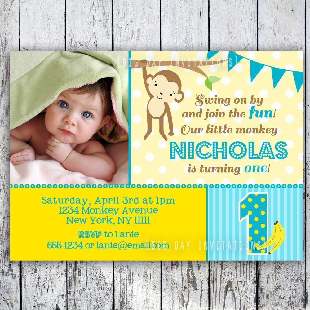 Free Printable Monkey Birthday Party Invitations