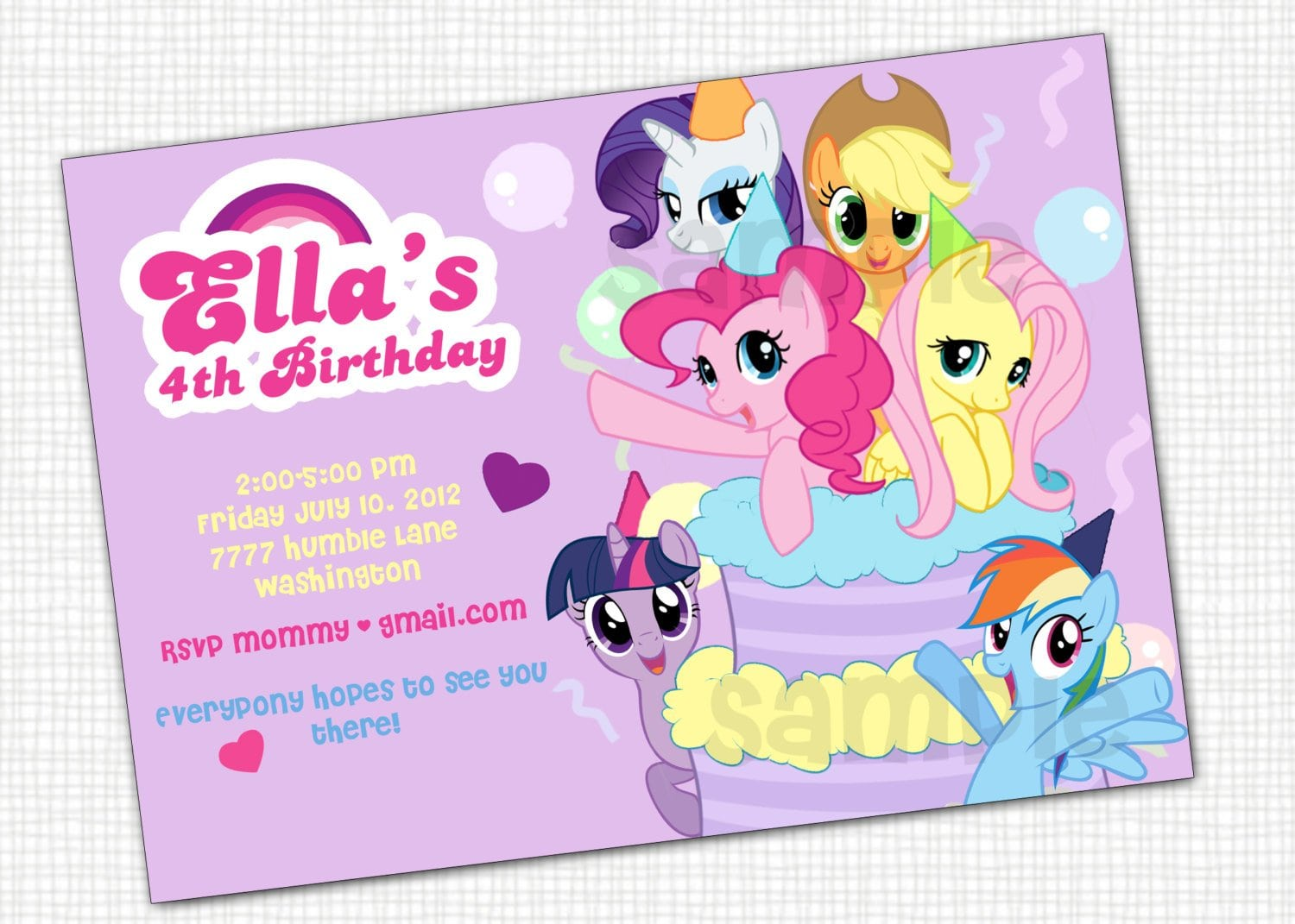 Free Printable My Little Pony Birthday Party Invitations