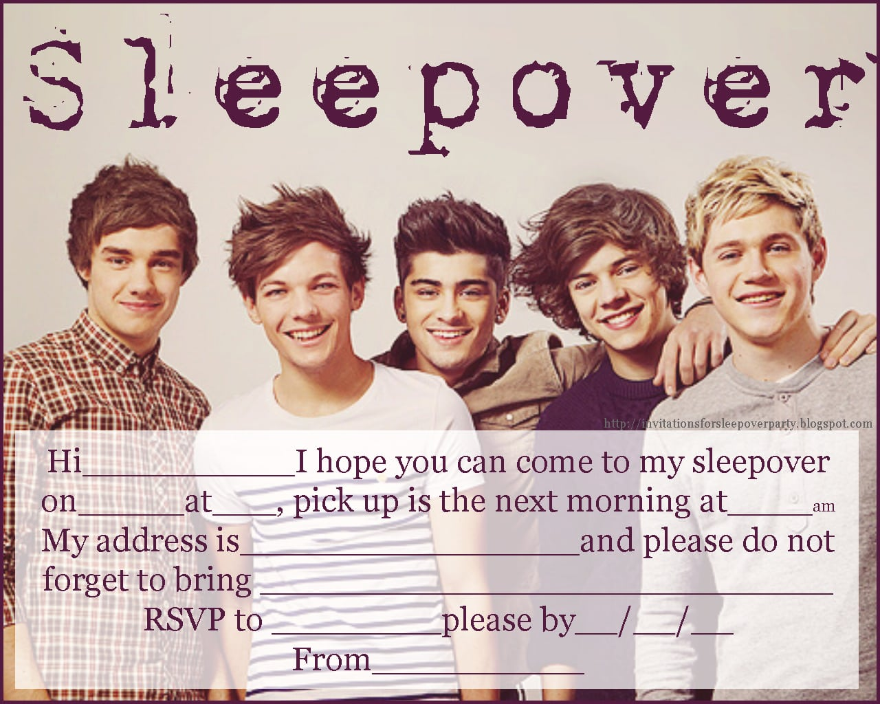 Free Printable One Direction Sleepover Invitations