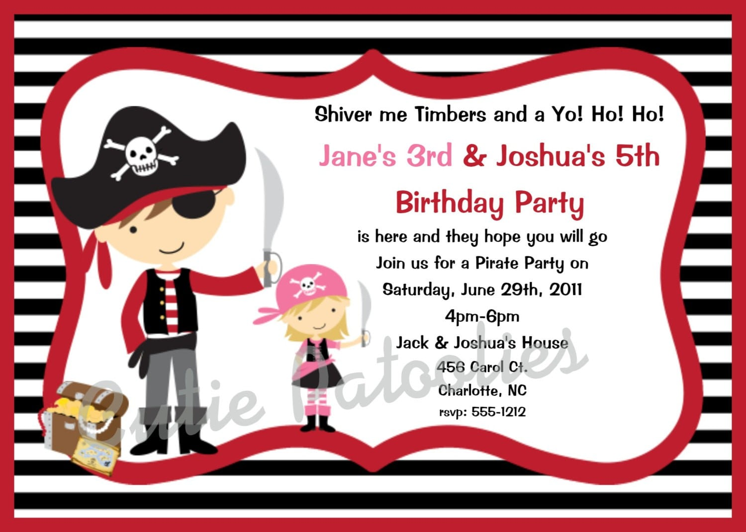 Pirate Party Invitations Printable princess kate wedding ring – Free Pirate Party Invitations