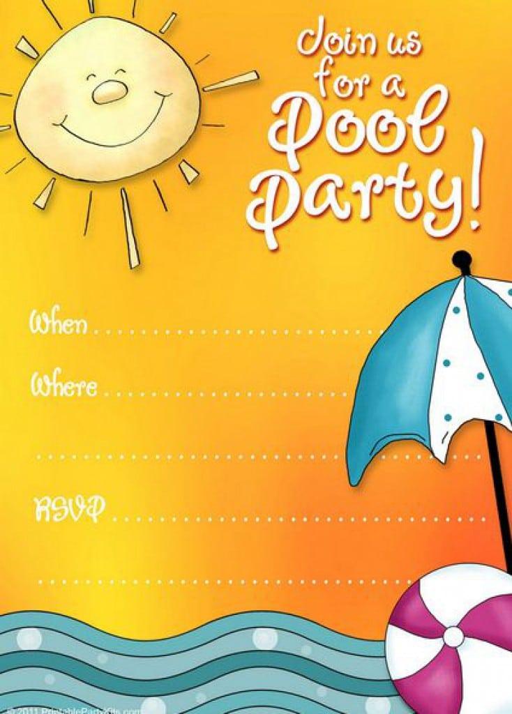 Free Printable Pool Party Birthday Invitations 2