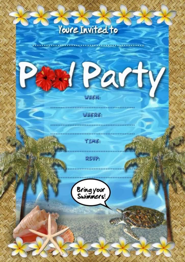 Free Printable Pool Party Birthday Invitations 3