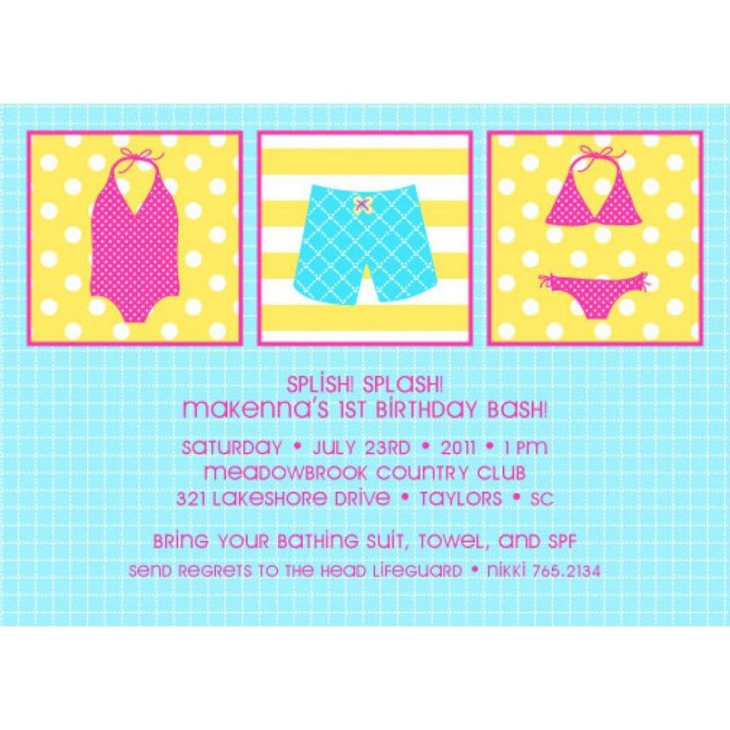 Free Printable Pool Party Birthday Invitations 4
