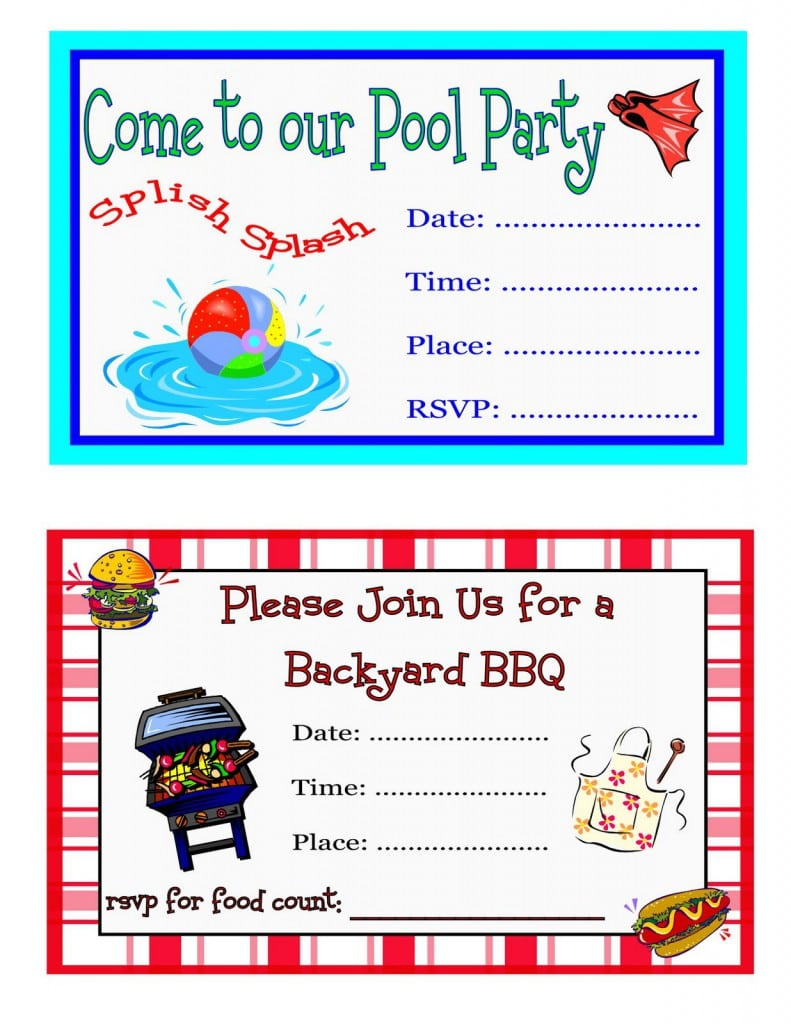 Free Printable Pool Party Birthday Invitations For Kids 2