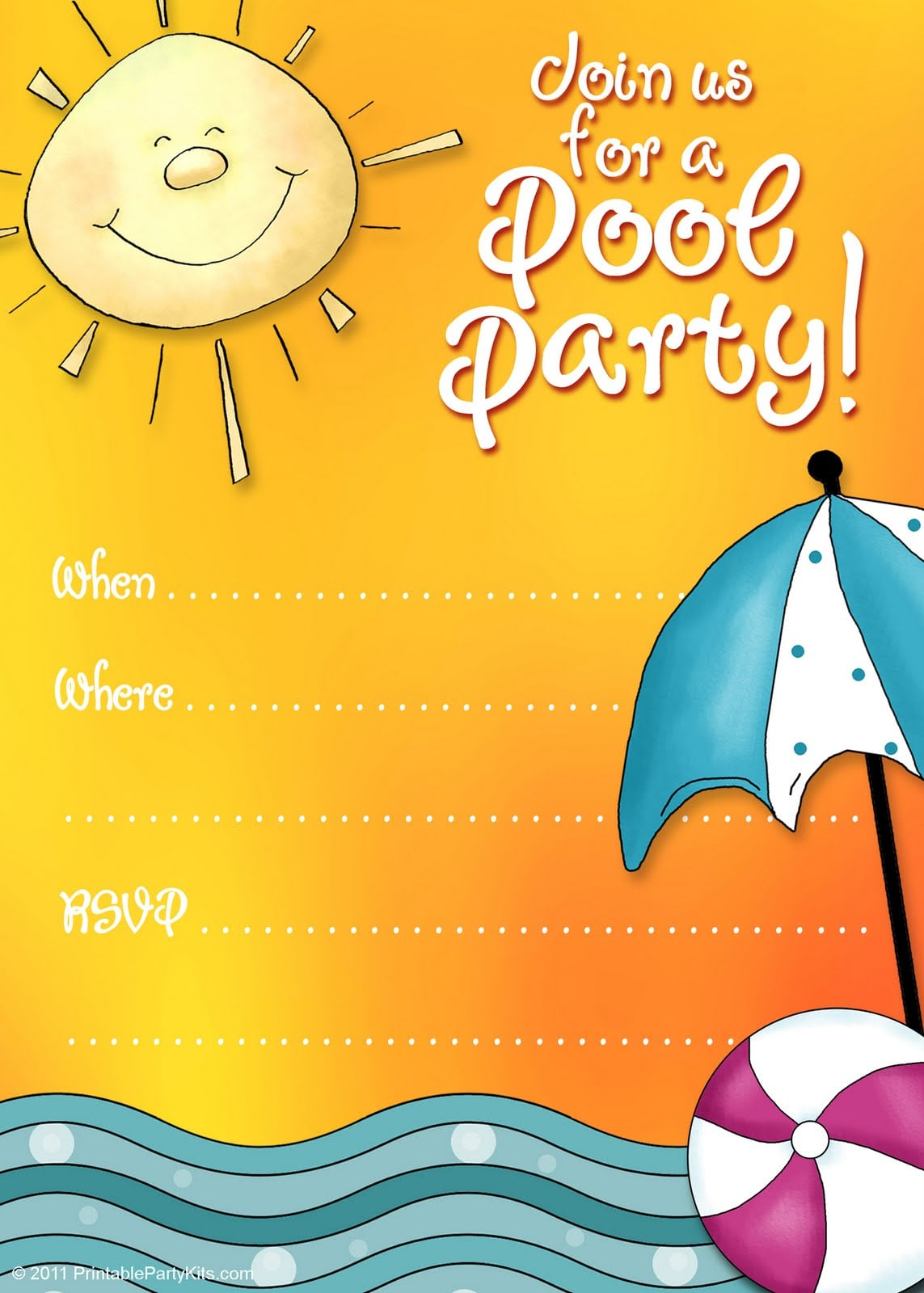 Free Printable Pool Party Invitations Kids