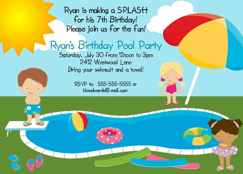 Printable Pool Party Invites For Kids