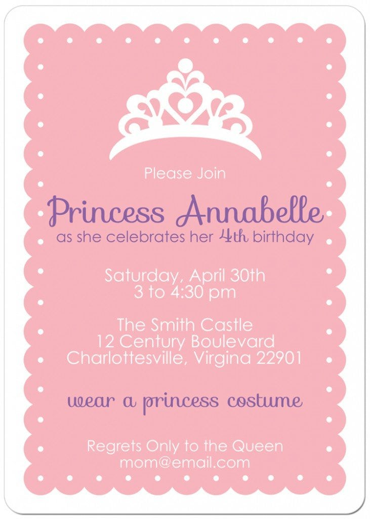 Free Printable Princess Tea Party Invitations Templates 2