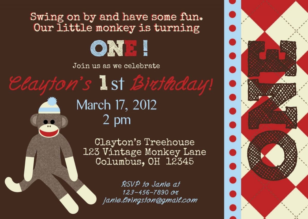 Free Printable Sock Monkey Birthday Invitations