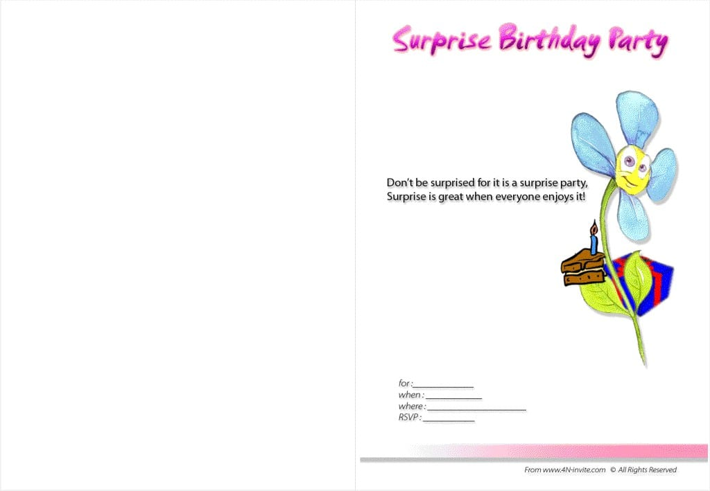 Free Printable Surprise 40th Birthday Party Invitations 2017